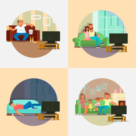People watching TV vector flat illustration. Man with beer and popcorn, young couple, family with two kids, boy enjoying leisure time at home watching tv while sitting and lying on sofa in living room