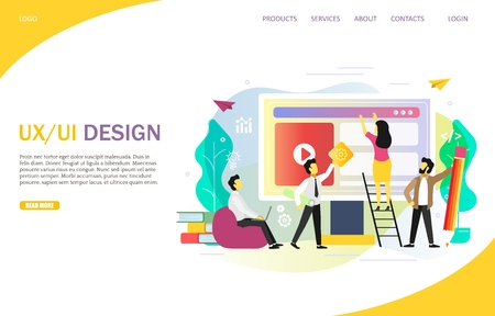 UX or UI design landing page website vector template