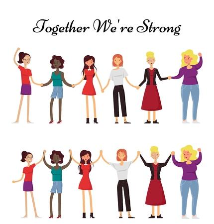 Women holding hands together, vector flat illustration