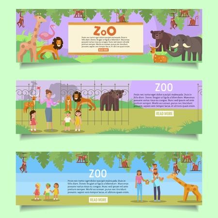 Ensemble de modèles de bannière web de zoo. Plate illustration vectorielle. Signalisation du zoo avec des animaux exotiques des bois. Visiteurs adultes avec enfants. Famille heureuse nourrissant des carottes pour bébé girafe.