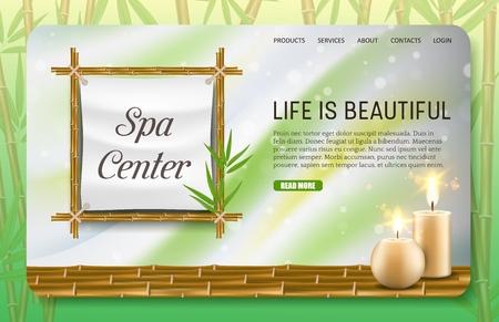 Modello vettoriale del sito web della pagina di destinazione del centro benessere