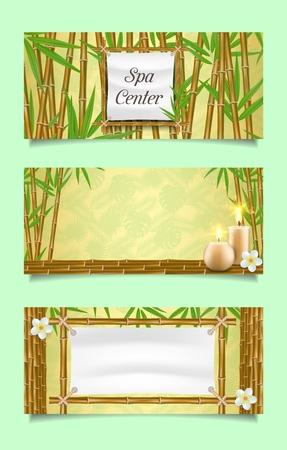 Insieme del modello dell'insegna del centro termale. Illustrazione realistica di vettore di steli e foglie di bambù, candele aromatiche e fiori. Poster, cartoline, banner web per saloni di bellezza spa.