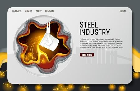 Modèle de site Web de page de destination de l'industrie sidérurgique découpée en papier vectoriel