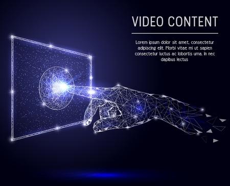 Ilustración de estilo de arte poligonal de vector de contenido de video Ilustración de vector