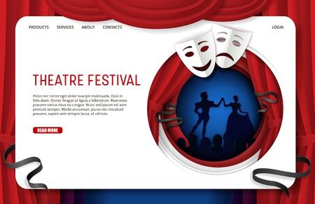 Vector paper cut theatre festival landing page website template