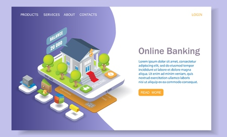 Online banking landing page template for website and mobile site development. Vector isometric illustration. Mobile banking and internet payments web page concept.