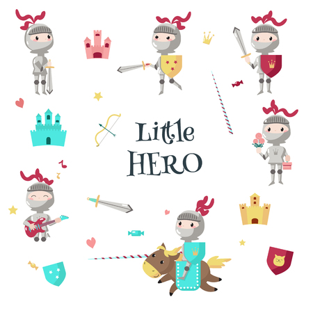 Cartoon armored knight on horseback with lance, standing with shield, sword. Vector illustration isolated on white background. Little boy hero in medieval knight costume with flowers, gift box, guitar Illustration