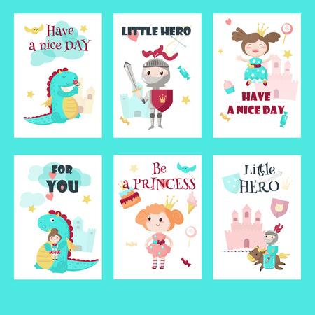 Jeu de cartes vectorielles, étiquettes-cadeaux avec petit héros de chevalier médiéval de conte de fées, belle princesse, dragon mythique mignon et citations inspirantes. Vecteurs