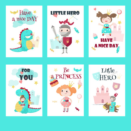 Vector set of cards, gift tags with fairytale medieval knight little hero, beautiful princess, cute mythical dragon and inspirational quotations.