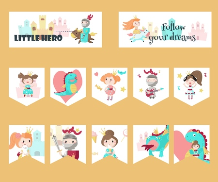 Vector set of cards, gift tags, labels, party pennant banners with fairytale medieval cartoon characters knight, princess, dragon, cute mythical unicorn and inspirational quotations. Ilustrace