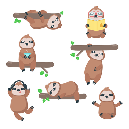 Cute sloth icon set. Vector illustration isolated on white background. Funny lazy sloths hanging upside down from branch, sleeping, reading book, listening to music, drinking tea, sitting in yoga pose