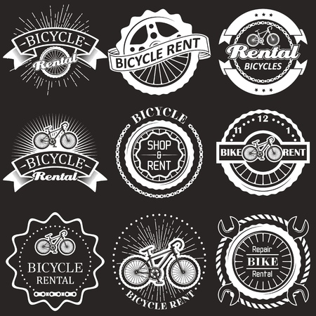 Bicycle rental vintage badges, labels, emblems and logo. Vector monochrome illustration. Bike rent, shop and repair typography.