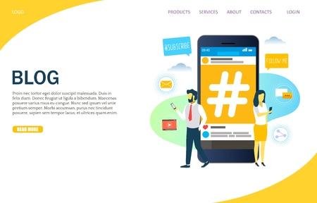 Concept de conception de style plat vectoriel de contenu de blog de page Web pour le développement de sites Web et de sites mobiles. Téléphone portable avec signe hashtag et personnes utilisant des smartphones. Modèle de page de destination de blogueur Internet.