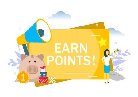 Anuncio de puntos, mujer con megáfono, alcancía, cajas, ilustración plana vectorial. Programa de fidelización de puntos de bonificación de recompensa al cliente, concepto de estrategia de marketing para banner web, página web, etc.