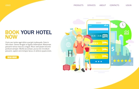 Book your hotel now vector website template, web page and landing page design for website and mobile site development. Mobile phone hotel booking and reservation concept.