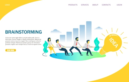 Brainstorming vector website template, web page and landing page design for website and mobile site development. Business team pulling lightbulb on rope. Business idea brainstorm and solution concept.