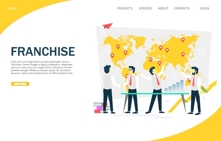 Franchise vector website template, web page and landing page design for website and mobile site development. Franchising and branch network concept.