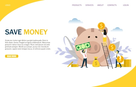 Save money vector website template, web page and landing page design for website and mobile site development. People putting money into piggy bank. Business investments, financial growth concept. Иллюстрация