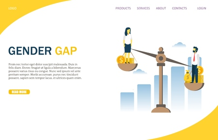 Gender gap vector website template, web page and landing page design for website and mobile site development. Man and woman balancing on scales with money. Gender wage inequality, injustice. 일러스트