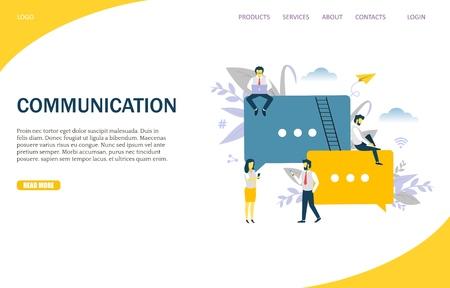 웹 사이트 및 모바일 사이트 개발을 위한 통신 벡터 웹 사이트 템플릿, 웹 페이지 및 방문 페이지 디자인. 메시징용 커뮤니케이션 앱이 있는 디지털 장치를 사용하는 사람들의 그룹입니다. 벡터 (일러스트)