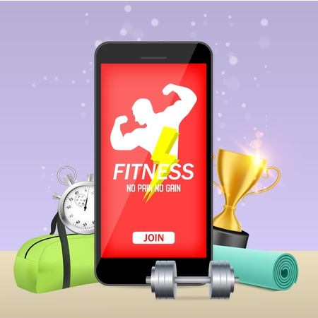 Smart phone with bodybuilder on screen and gym equipment around it, vector illustration. Fitness mobile application mockup concept.