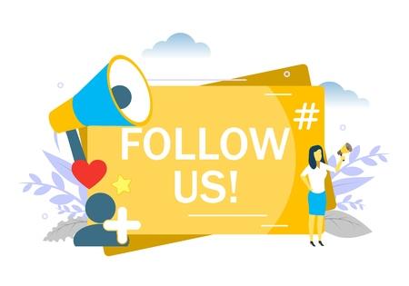 Follow us on social media message. Vector flat style design illustration of woman speaking through megaphone, social network follower like hashtag symbols etc. Stock Illustratie