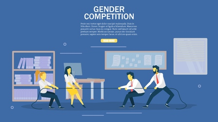 Gender competition web banner design template. Business people pulling rope. Vector flat style design illustration. Men vs women corporate war, contest concept.