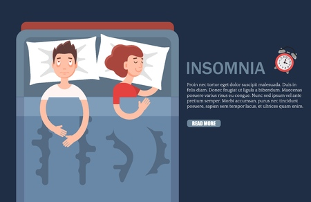 Insomnia vector web banner design template. Vector flat style design illustration. Adult man suffering from sleeplessness. Emotional health problems, sleep disorder concept. Stock Illustratie