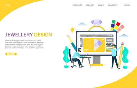 Jewellery design vector website template, web page and landing page templates for website and mobile site development. Jewelry designers creating jewellery. Ilustrace
