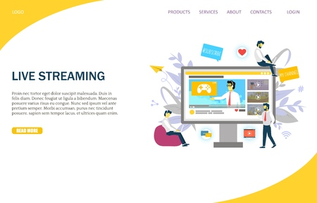 Live streaming vector website landing page design template