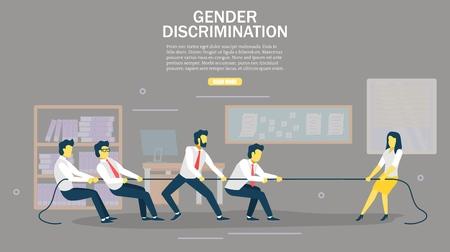 Gender discrimination vector web banner design template