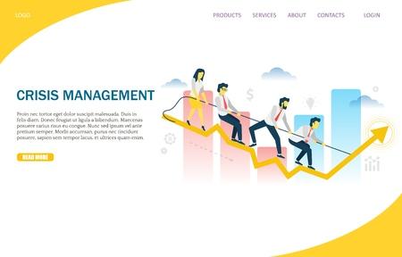 Vorlage für das Design der Zielseiten-Designvorlage für die Vektorwebsite des Krisenmanagements