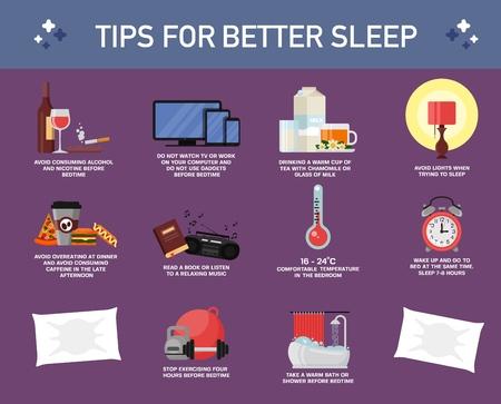 Conseils ou règles pour un meilleur sommeil, illustration vectorielle de style plat. Conseils utiles pour un sommeil sain. Infographie des habitudes de sommeil.