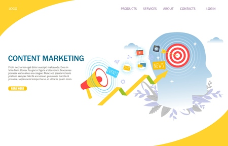 Content marketing vector website landing page design template