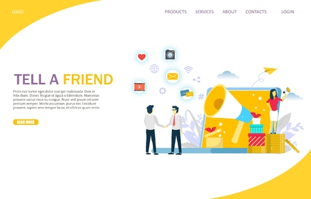 Tell a friend vector website landing page design template