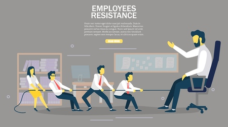 Employees resistance web banner design template. Vector illustration of office people pulling boss in chair with rope. Tug of war, corporate war concepts.
