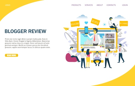 Blogger review vector website landing page design template