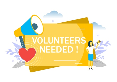 Volunteers needed, woman speaking through megaphone. Vector flat illustration for web banner, website page etc. Volunteer recruitment appeals concept.