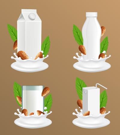 Ensemble de maquette de paquet de lait d'amande. Illustration vectorielle réaliste de lait de noix végétalien sans produits laitiers en verre, bouteille en plastique vierge blanche et paquet de papier carton avec éclaboussures de liquide et noix. Vecteurs