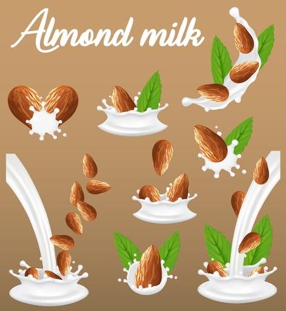 Almond nut in milk splash, vector realistic illustration. Tasty, vegan, lactose free almond milk splashing and pouring.