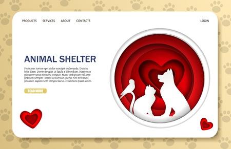 Plantilla de sitio web de vector de refugio de animales, diseño de página web y página de destino para desarrollo de sitios web y móviles. Libra de animales callejeros, concepto de arte de corte de papel de centro de rescate o reubicación.
