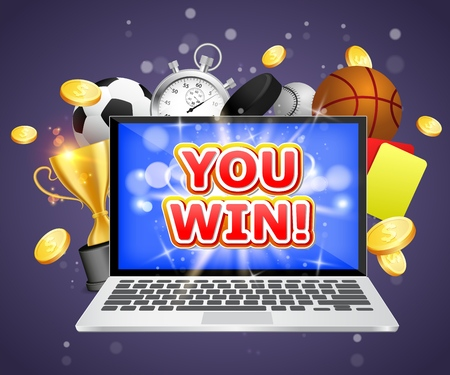 You win, vector poster banner design template. Laptop, soccer basketball baseball balls, stopwatch, hockey puck, yellow and red referee cards, trophy cup and coins. Sports betting winner concept.