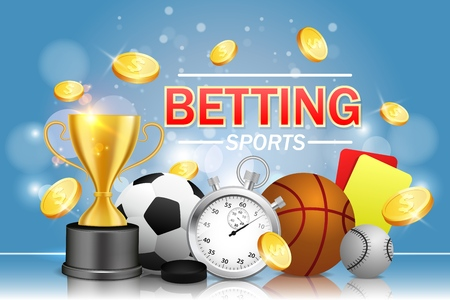 Sports betting vector poster banner design template. Soccer basketball baseball balls, stopwatch, hockey puck, yellow and red referee cards, trophy award cup and dollar coins. Bookmakers concept.