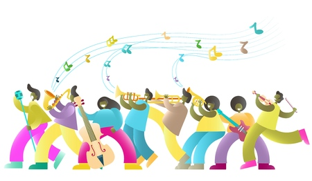 Jazz festival vector poster banner template with african american musicians jazz band cartoon characters playing musical instruments, dancing and singing.