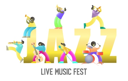 Live music fest vector poster banner template. Jazz in capital letters, music players with guitar, drums, trombone, trumpet, saxophone, french horn, double bass and microphone.