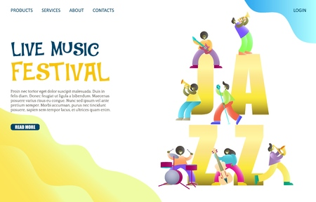 Live music festival vector website template, web page and landing page design for website and mobile site development. Jazz band concert.