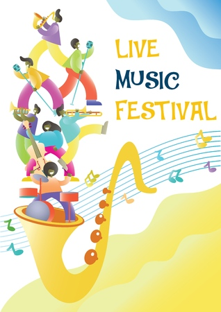 Live music festival vector promotional poster design template. Big saxophone with musicians playing musical instruments and singing. Jazz band concert.