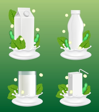 Soy milk package mockup set. Vector realistic illustration of lactose free vegan milk in glass, white blank plastic bottle and carton paper pack with liquid splash and soy plant beans and leaves.