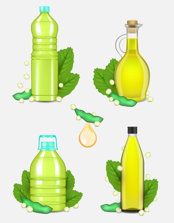 Soy oil set. Vector realistic illustration of vegetable soybean oil plastic and glass bottles with soy plant beans and leaves.