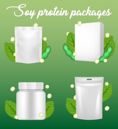 Natural pure vegan supplement organic soy protein package mockup set. Vector realistic illustration. White blank carton box, plastic jar, doypack, stand up flexible pouch sachet bag with hang slot. Çizim